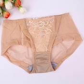 六月玫瑰健康液化钛舒适抗菌网纱中腰女士三角裤 65132