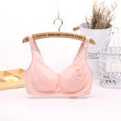 六月玫瑰闺蜜系列无钢圈吸湿网纱薄杯按摩少女文胸07024