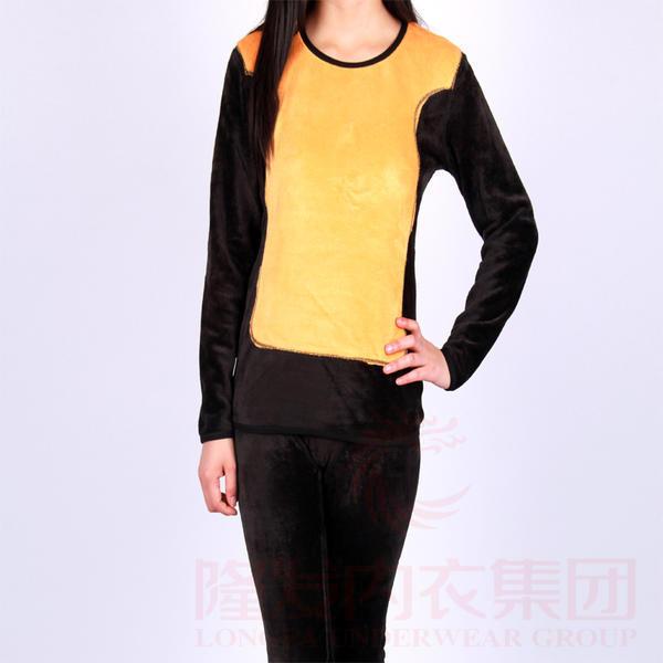 爱思唯依 简约圆领加厚加绒女士蓄热黄金甲冬季保暖内衣套装 A8011