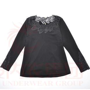 十分V时尚网纱拼接性感保暖女士冬季外穿内穿保暖上衣8105