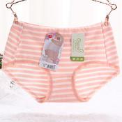黛丝少女天然有机棉无公害健康舒适透气经典条纹蕾丝女士中腰平角裤21888